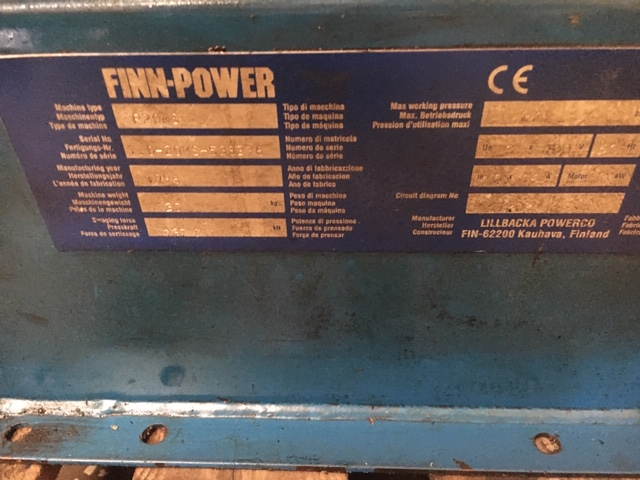 FINN POWER P20M3 SWAGING MACHINE WITH DIES 50 TONNE COMPRESSED HEAD